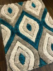 New Approx 6x4Ft 120x160CM Tear Drop 3D Rugs Nice Top Quality Teal/Cream/Silver